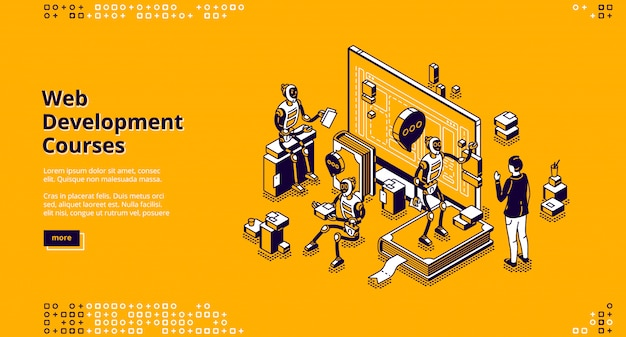 Página de destino isométrica dos cursos de desenvolvimento da web