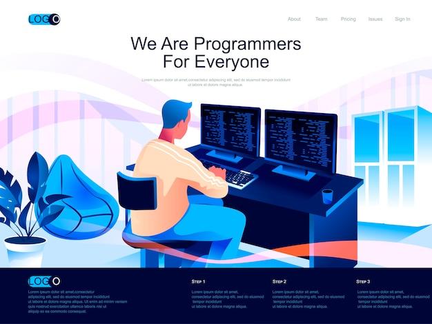Página de destino isométrica dos programadores com situação de caracteres planos