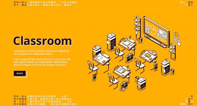 Página de destino isométrica em sala de aula, turma escolar