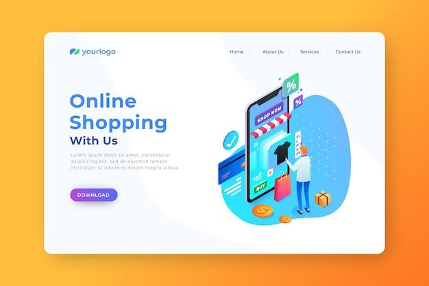 Página de destino isométrica on-line de produtos de compra
