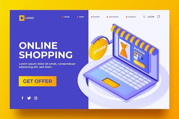 Página de destino isométrica online de compras