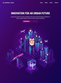 Página de destino isométrica para o futuro urbano