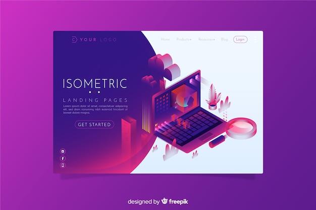 Página de destino isométrica
