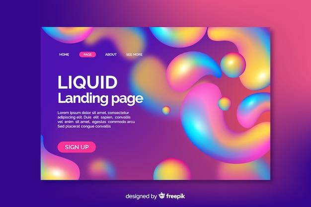 Página de destino líquida colorida arco-íris