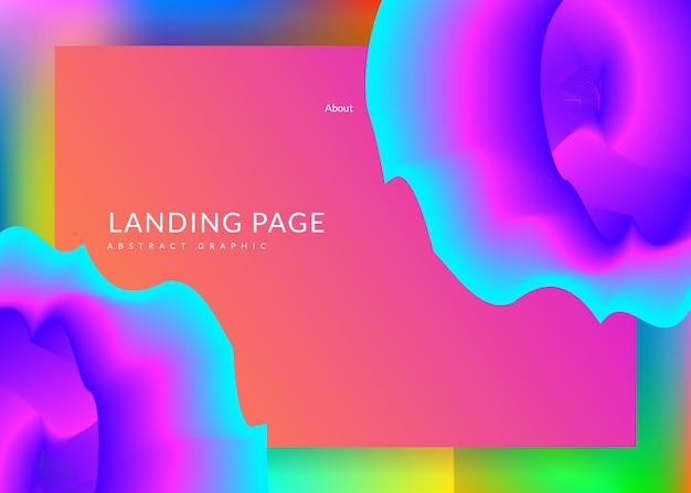 Página de destino. malha de gradiente vívida. interface geométrica, moldura de tela. pano de fundo 3d holográfico com mistura na moda moderna. página inicial com elementos dinâmicos líquidos e formas fluidas.