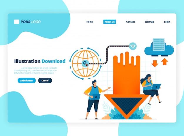 Página de destino modelo de ilustração para o ícone de seta. forma correta de upload e download. próximo e anterior para navegação. direção para cima e para baixo