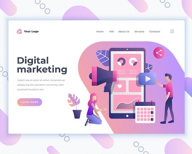 Página de destino modelo de marketing digital com pessoas do escritório