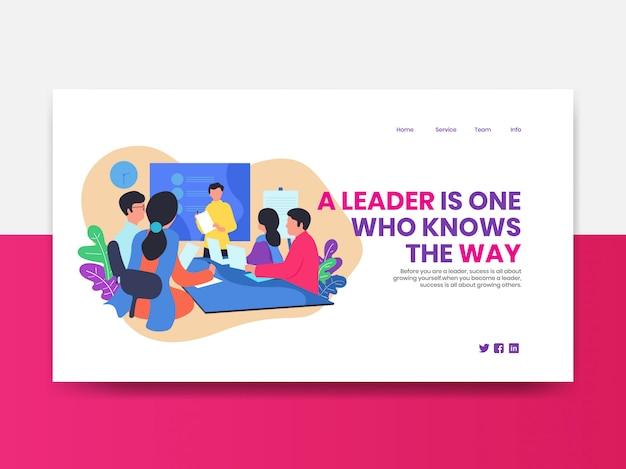 Página de destino. modelo de web de reunião