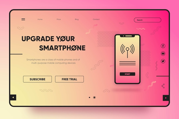 Página de destino moderna com smartphone