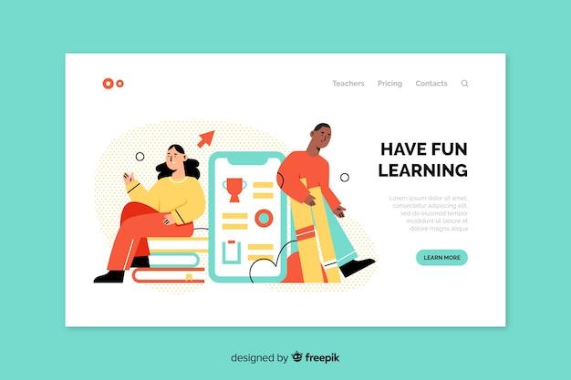Página de destino moderna da educação on-line