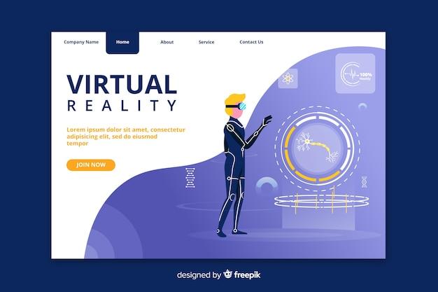 Página de destino moderna de realidade virtual
