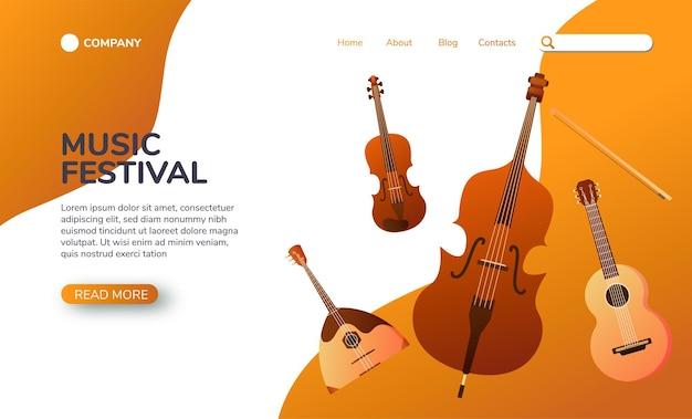 Página de destino musical instrumentos musicais de cordas.