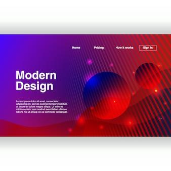 Página de destino na moda com modelo colorido de design moderno