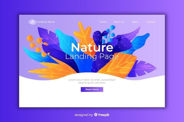 Página de destino natural com flores