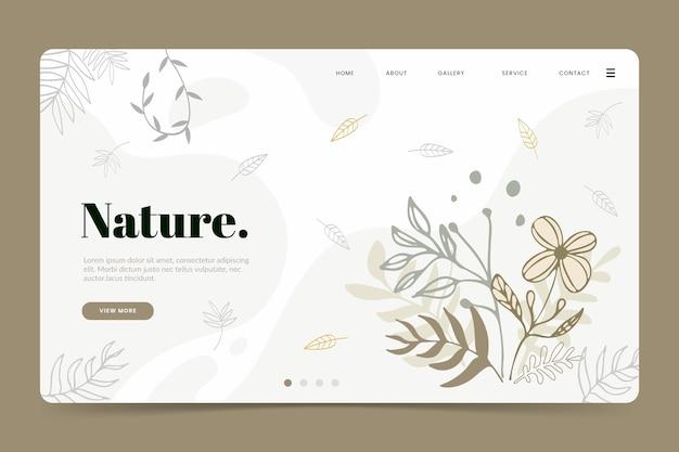Página de destino natural de modelo desenhado de mão