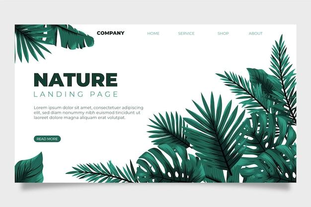 Página de destino natureza e folhas tropicais