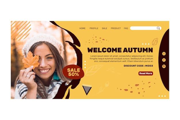 Página de destino no meio do outono