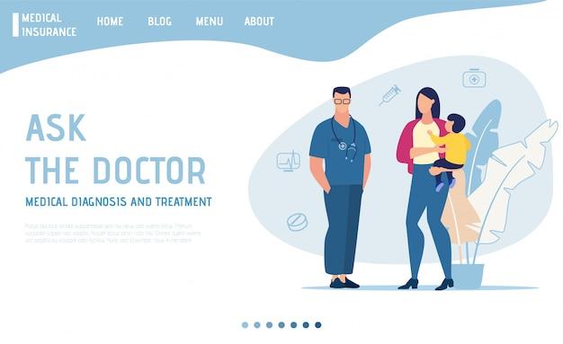 Página de destino oferece consulta médica on-line