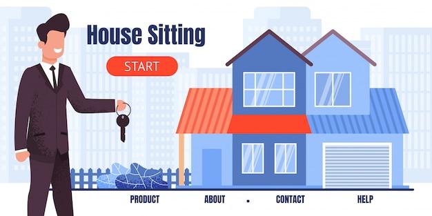 Página de destino oferecendo casa sentada com benefício