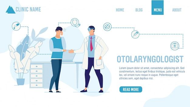 Página de destino oferecendo pedido de ajuda do otorrinolaringologista
