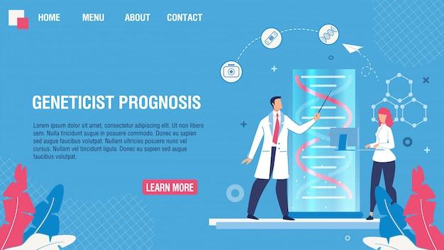 Página de destino oferecendo serviço de prognóstico geneticista
