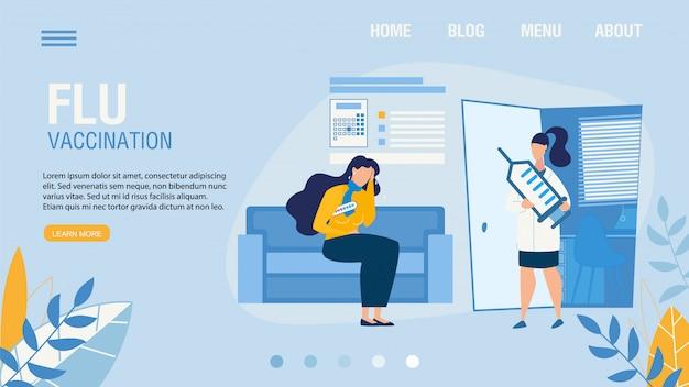 Página de destino oferecendo serviço de vacinação contra a gripe