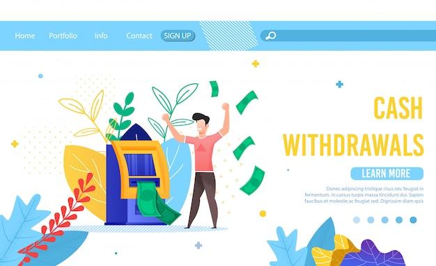 Página de destino oferecendo serviço para saques em dinheiro