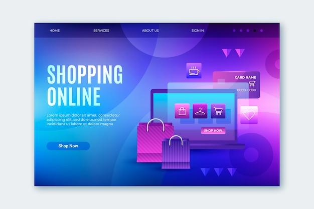 Página de destino on-line de compras futurista