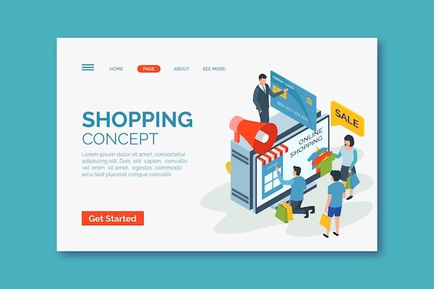 Página de destino on-line de compras ismoétricas