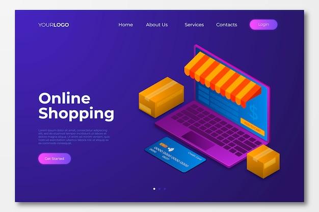 Página de destino on-line de compras isométrica