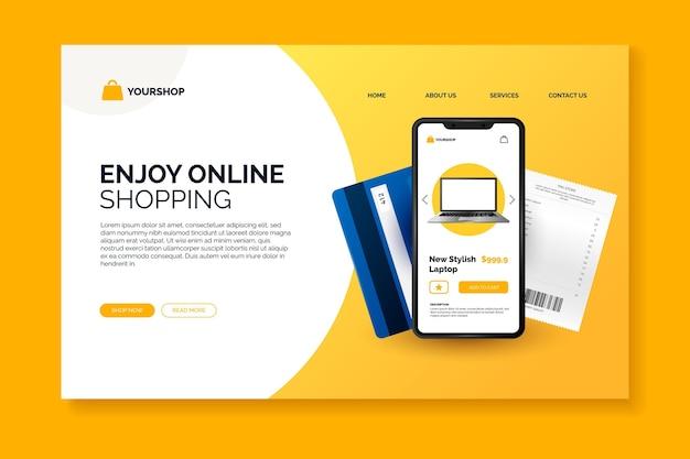Página de destino on-line de compras realista