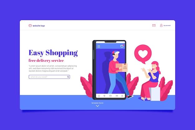 Página de destino on-line do shopping