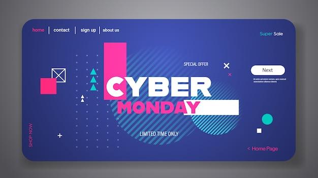 Página de destino ou modelo da web com tema cyber segunda-feira