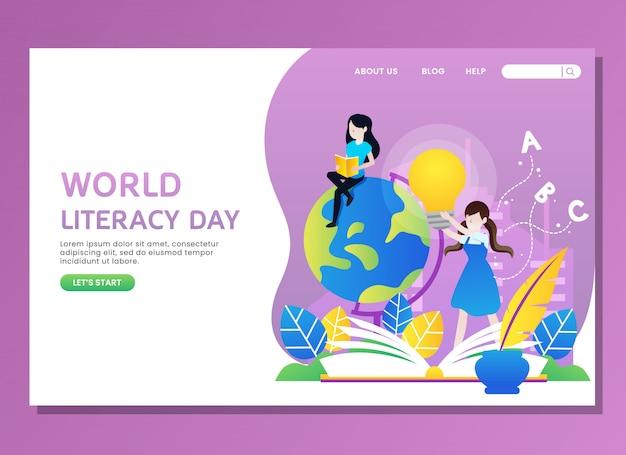 Página de destino ou modelo da web. dia mundial da alfabetização com leitura de mulher