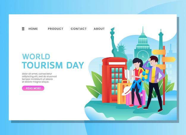 Página de destino ou modelo da web. dia mundial do turismo com casal