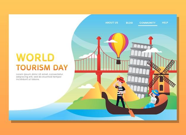 Página de destino ou modelo da web. dia mundial do turismo com mulher e homem