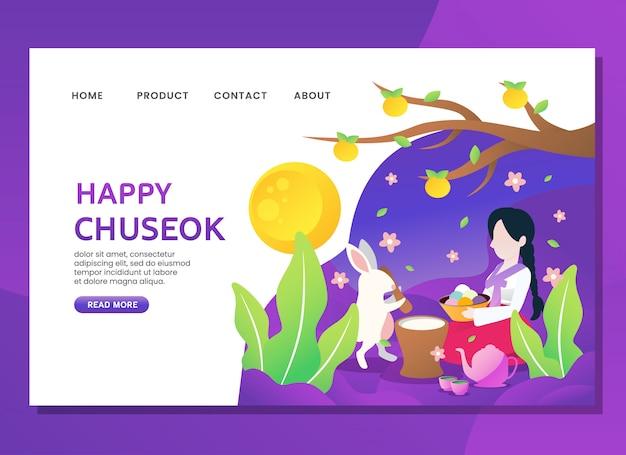 Página de destino ou modelo da web. feliz, chuseok, com, mulher, sente-se, com, coelho