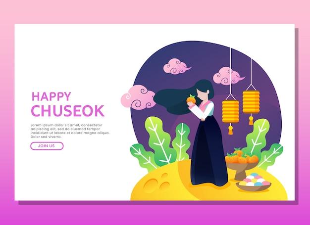 Página de destino ou modelo da web. feliz, chuseok, ilustração, com, mulher