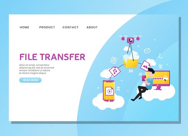 Página de destino ou modelo da web. transferência de arquivos com o homem sentado na nuvem
