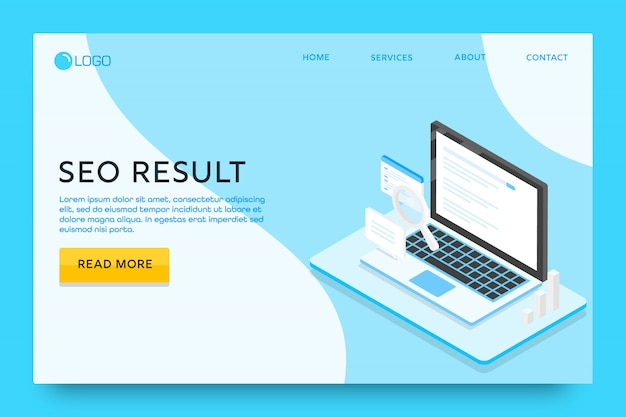 Página de destino ou modelo de web design. resultado seo