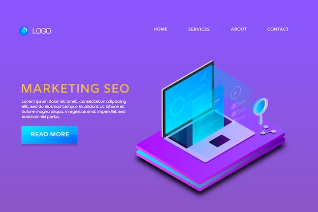 Página de destino ou modelo de web design. seo de marketing