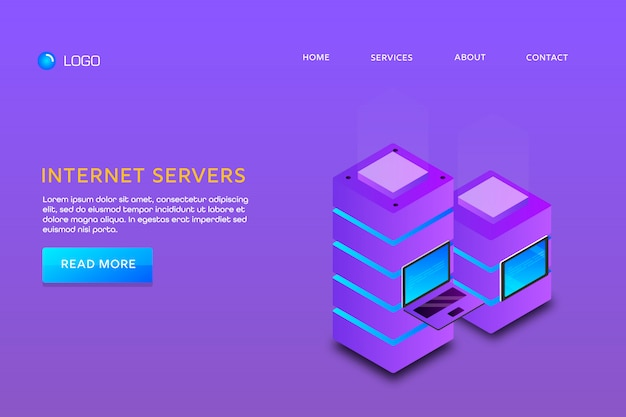Página de destino ou modelo de web design. servidores de internet