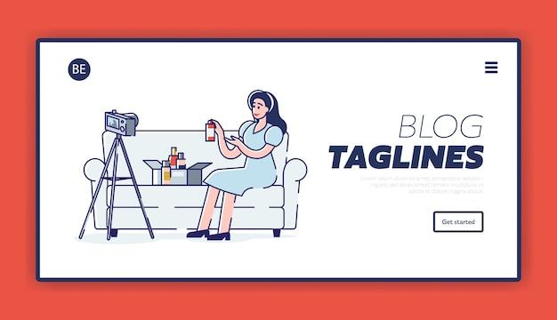 Página de destino para a interface do blog de beleza com a blogueira feminina filmando novo vídeo para o canal com novos cosméticos unboxing
