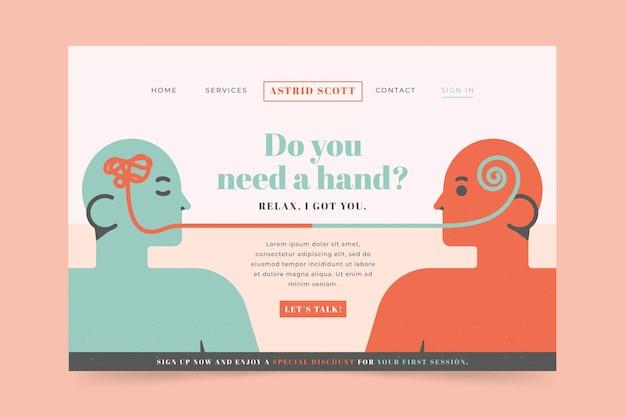 Página de destino para ajuda psicológica