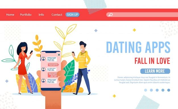 Página de destino para aplicativos de namoro com ofertas de serviço