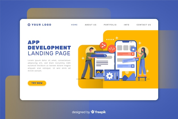 Página de destino para desenvolvimento de aplicativos