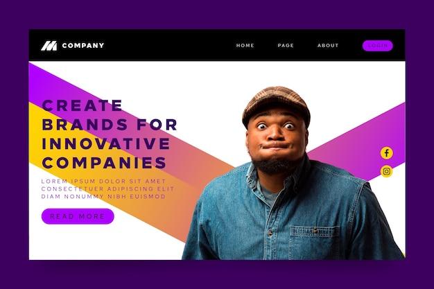 Página de destino para empresas inovadoras