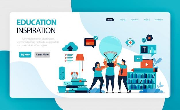 Página de destino para idéias e inspiração para educação