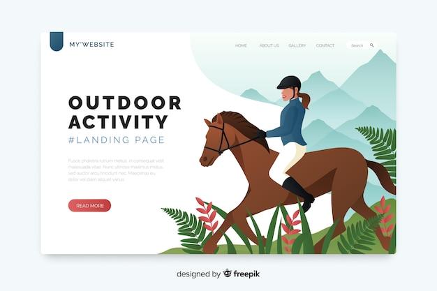 Página de destino para o modelo de atividades ao ar livre