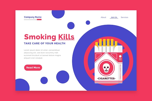 Página de destino para parar de fumar com cigarros